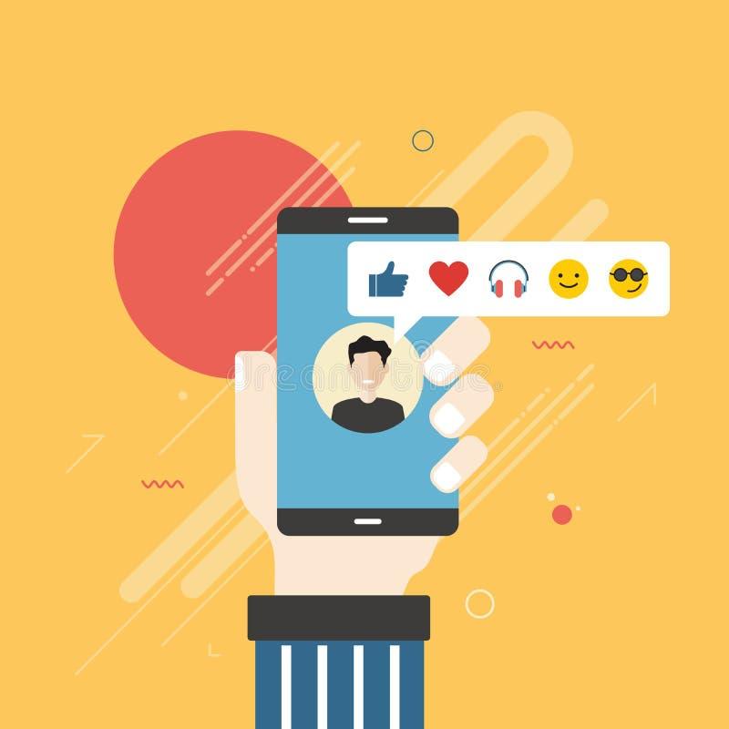 Hållande mobiltelefon för mänsklig hand med sociala nätverksåterkopplingsemoticons stock illustrationer