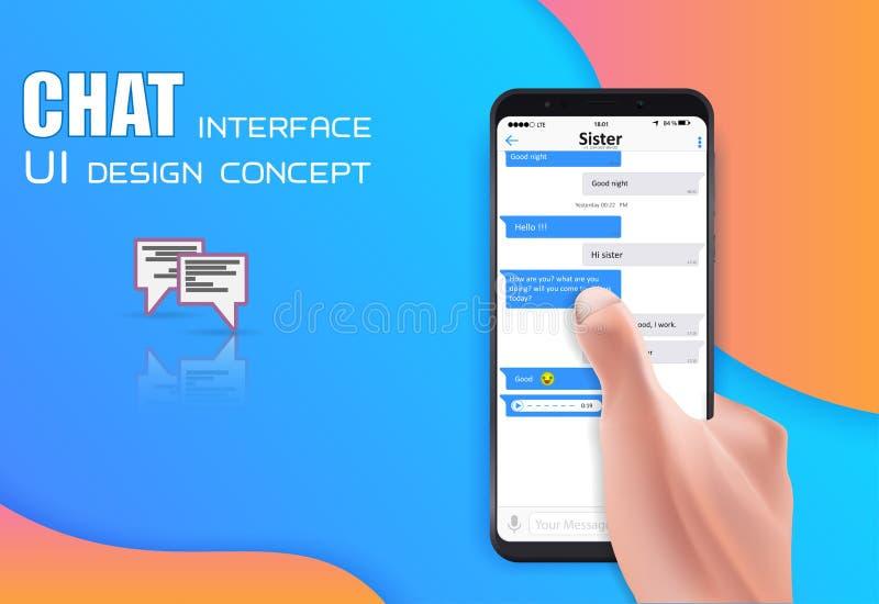 Hållande mobiltelefon för realistisk hand som isoleras på idérik bakgrund Socialt nätverksbegrepp av att prata och messaging royaltyfri illustrationer