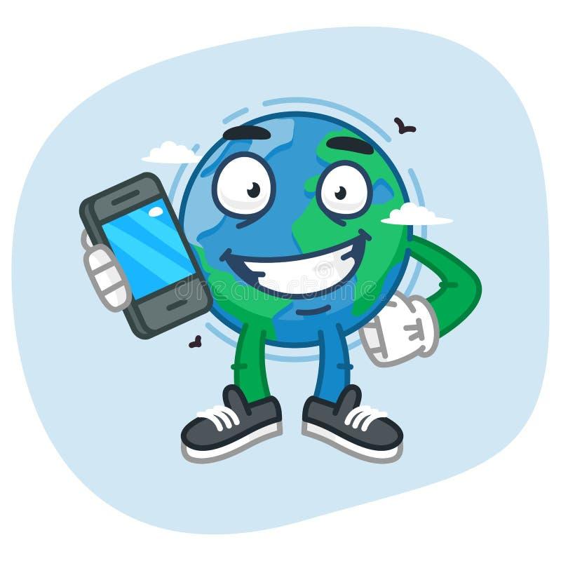 Hållande mobiltelefon för teckenjord royaltyfri illustrationer