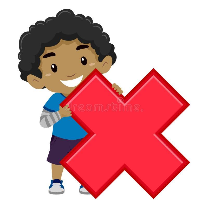 Hållande multiplikationssymbol för pojke royaltyfri illustrationer