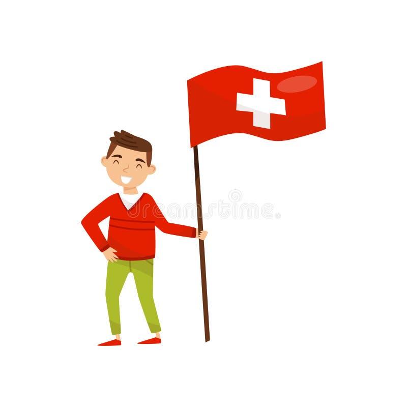 Hållande nationsflagga för pojke av Schweiz, designbeståndsdel för självständighetsdagen, flaggmärkesdagvektorillustration på en  stock illustrationer