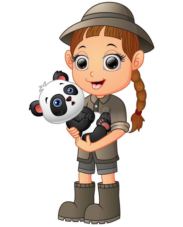 Hållande pandabjörn för liten flicka stock illustrationer