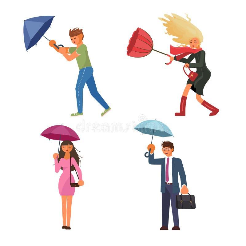 Hållande paraply för folk under regnet vektor illustrationer
