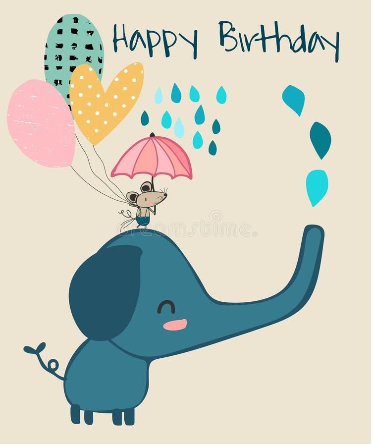 Hållande paraply för gullig elefant och för liten mus, födelsedagkort stock illustrationer