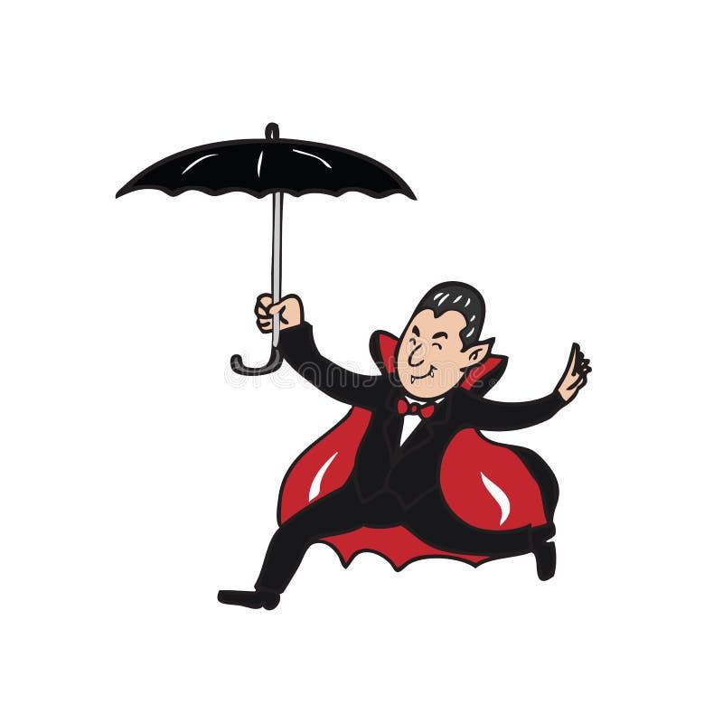 Hållande paraply för vampyr royaltyfri illustrationer