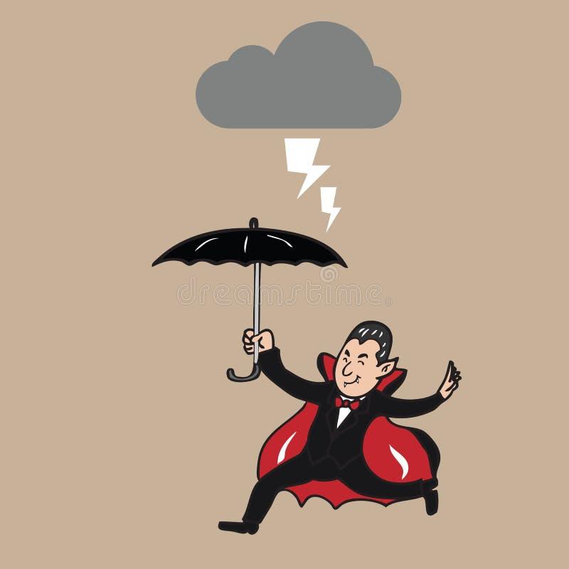 Hållande paraply för vampyr i strom royaltyfri illustrationer