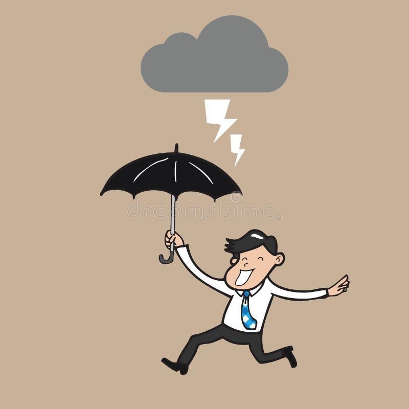 Hållande paraplyspring för affärsman i strom royaltyfri illustrationer
