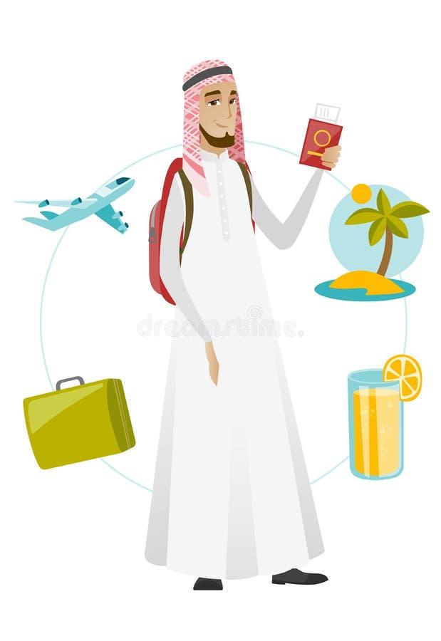 Hållande pass för muslimsk manhandelsresande med biljetten stock illustrationer