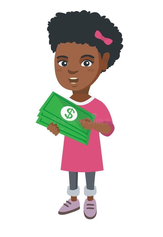 Hållande pengar för afrikansk amerikanflicka i händer stock illustrationer