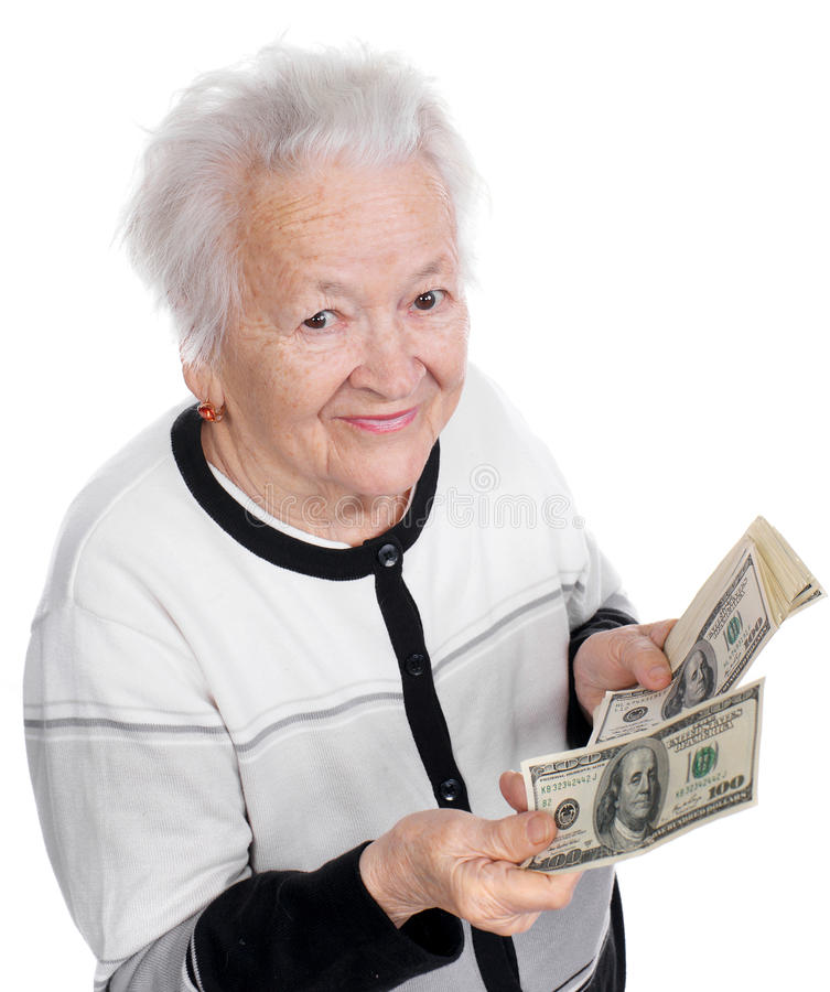 Hållande pengar för gammal kvinna i händer royaltyfria foton