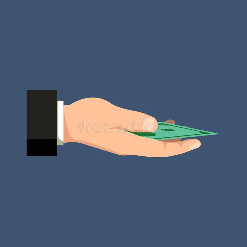Hållande pengar för hand på ett mörker - blå bakgrund bakgrundsbegreppet bantar guld- äggfinans också vektor för coreldrawillustr royaltyfri illustrationer