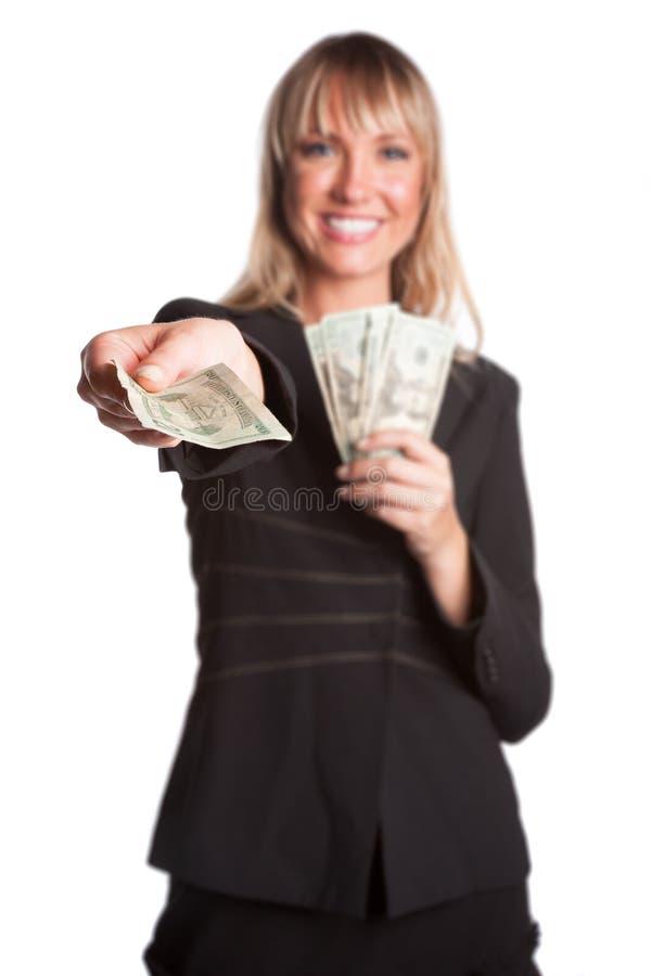 Hållande pengar för kvinna arkivfoton