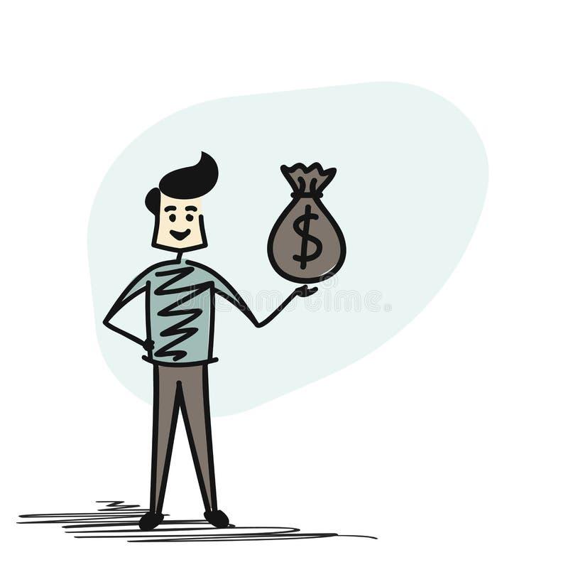 Hållande pengarpåse för lyckad affärsman stock illustrationer