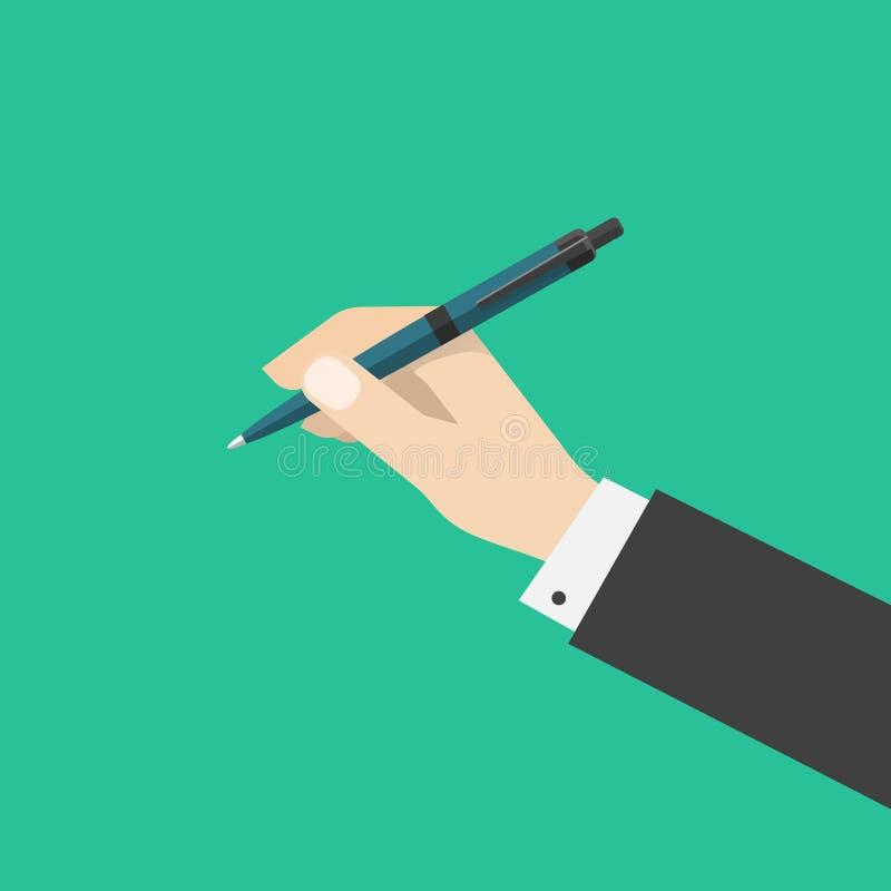 Hållande penna för hand på bakgrund för grön färg royaltyfri illustrationer