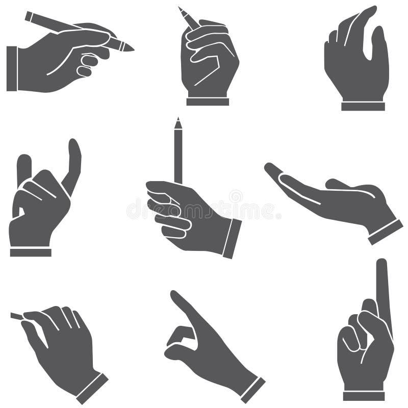 Hållande pennor för hand, handstil royaltyfri illustrationer