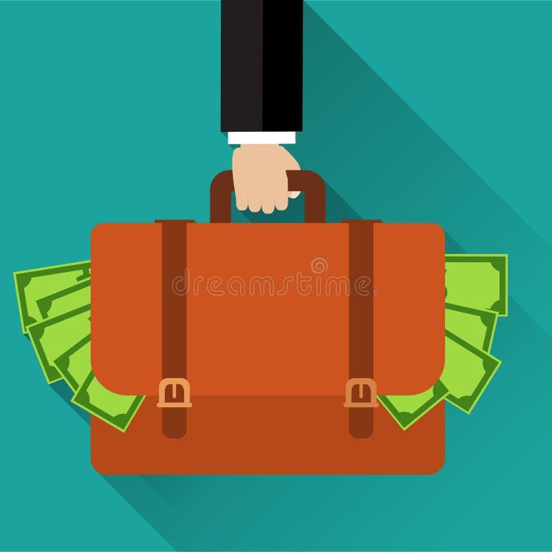 Hållande portfölj för affärsmanhand som är full av pengar vektor illustrationer