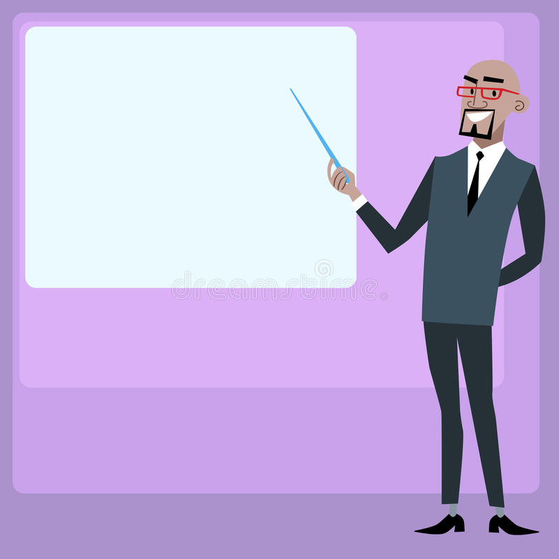 Hållande presentationsskärm för afrikansk affärsman stock illustrationer