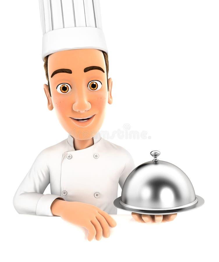 hållande restaurangsticklingshus för head kock 3d vektor illustrationer
