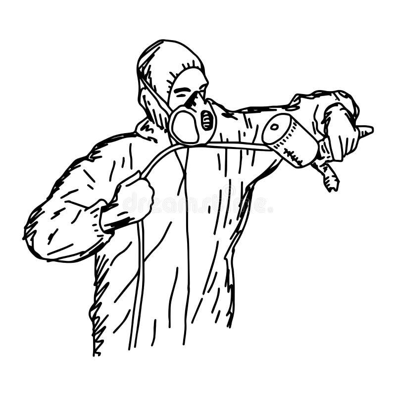Hållande retuschsprutavapen för manlig arbetare med copyspace - vektorillustr stock illustrationer