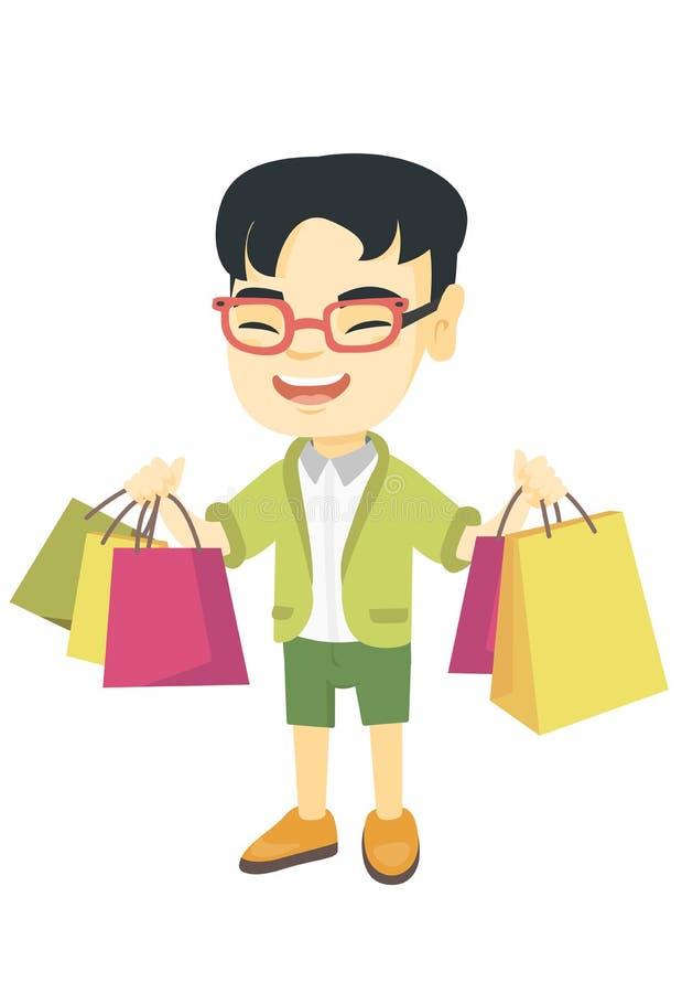 Hållande shoppingpåsar för lycklig asiatisk pojke vektor illustrationer
