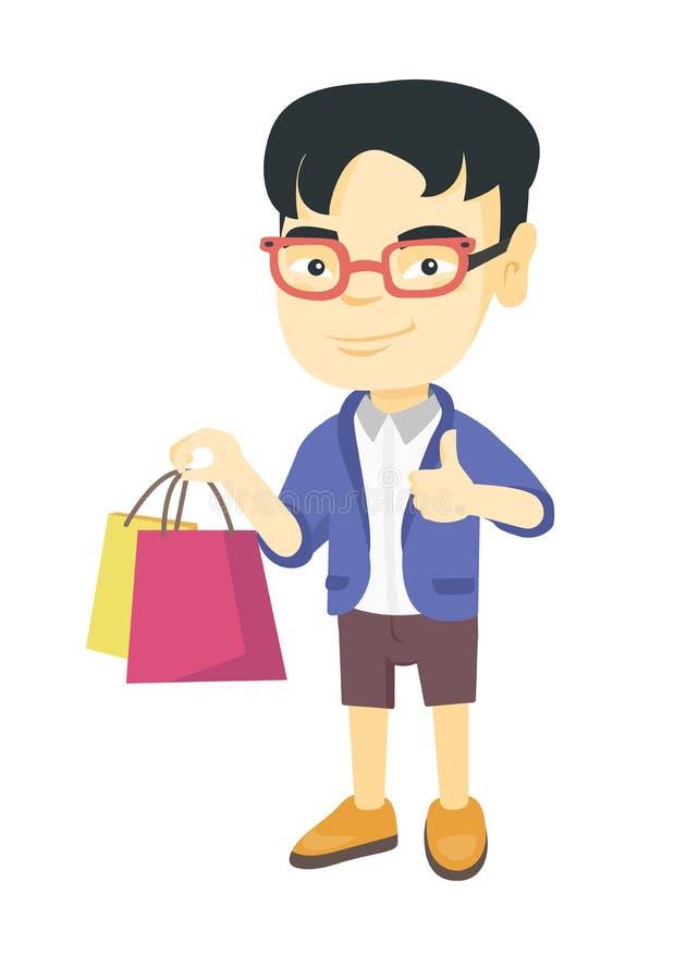 Hållande shoppingpåsar för lycklig asiatisk pojke stock illustrationer