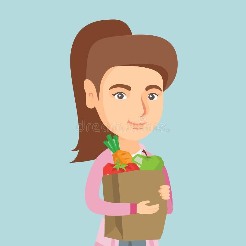 Hållande shoppingpåse för kvinna med sund mat stock illustrationer