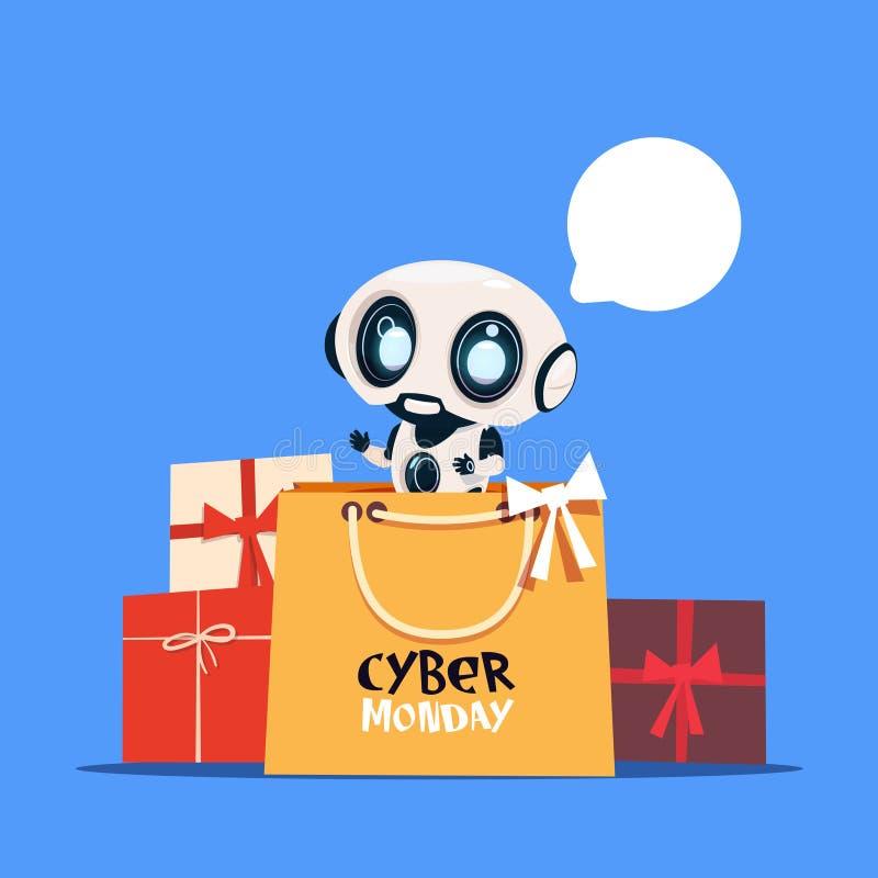 Hållande shoppingpåse för modern robot med för Sale för teknologi för online-ferie för Cybermåndag text modern design baner stock illustrationer