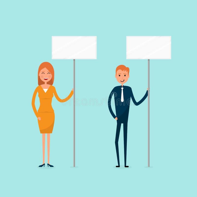 Hållande skylt för affärsman som och för affärskvinna uttrycker dema royaltyfri illustrationer