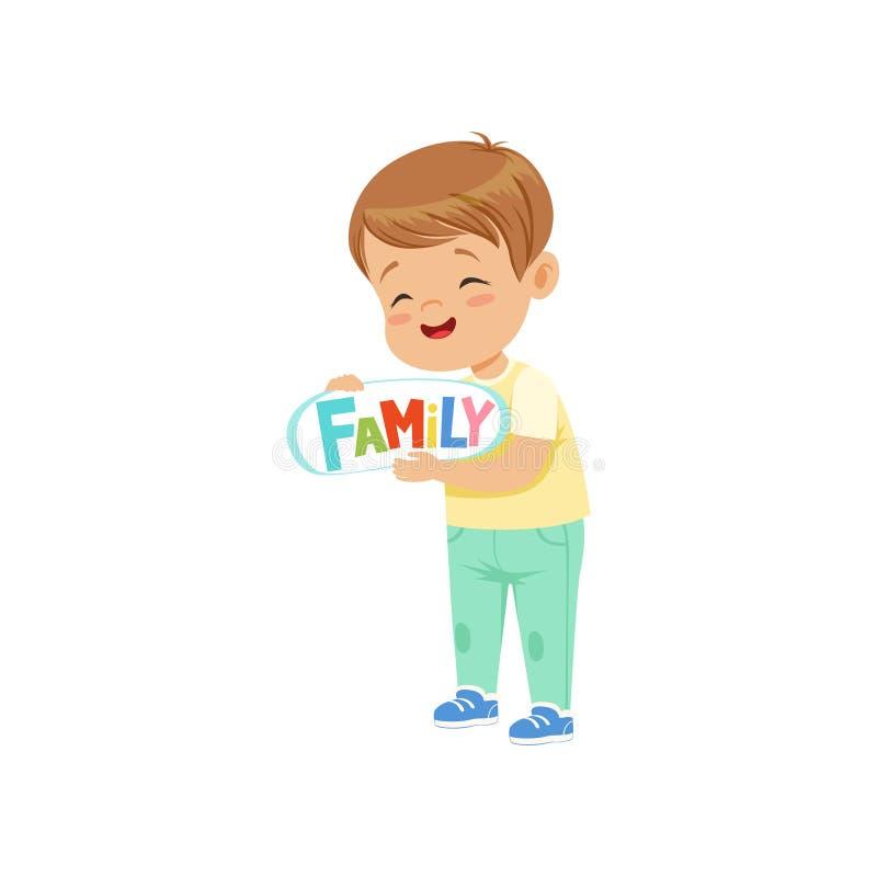 Hållande skylt för gullig lycklig pys med illustrationen för inskriftfamiljvektor på en vit bakgrund stock illustrationer