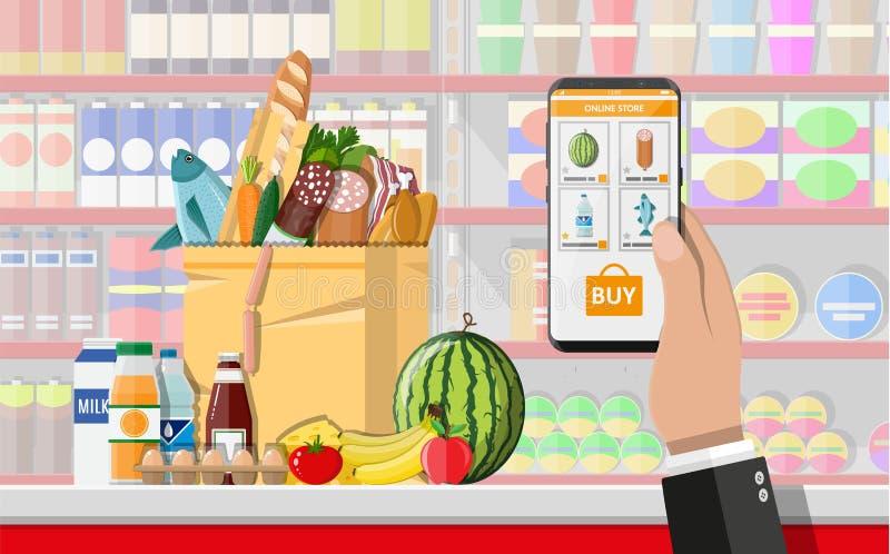 Hållande smartphone för hand med att shoppa app vektor illustrationer