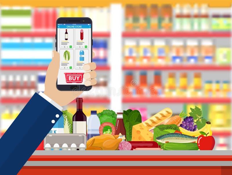 Hållande smartphone för hand med att shoppa app stock illustrationer