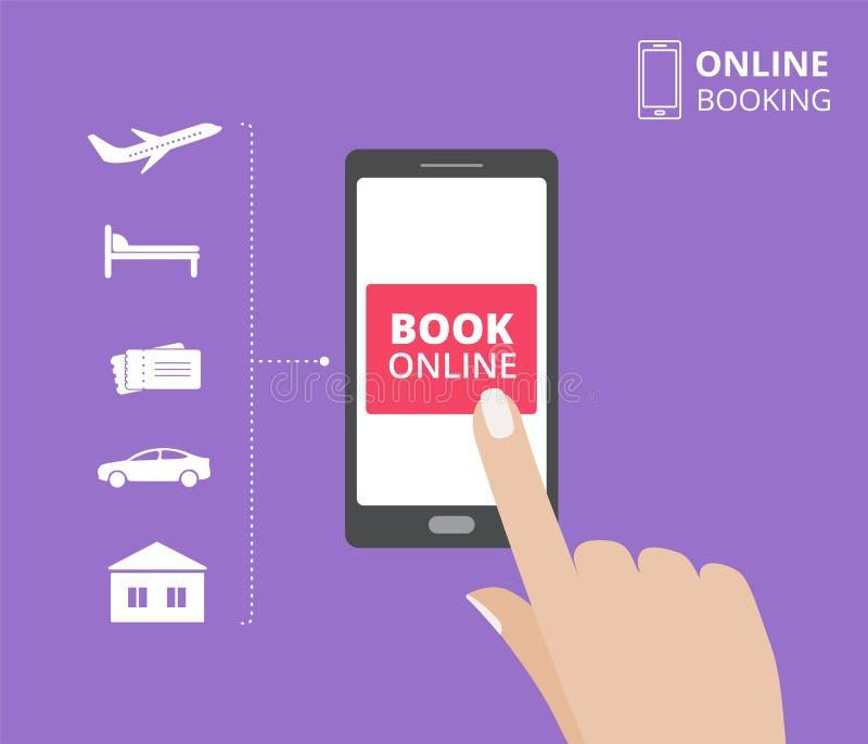 Hållande smartphone för hand med bokknappen på skärmen Online-bokningdesignbegrepp hotell flyg, bil, biljetter royaltyfri illustrationer