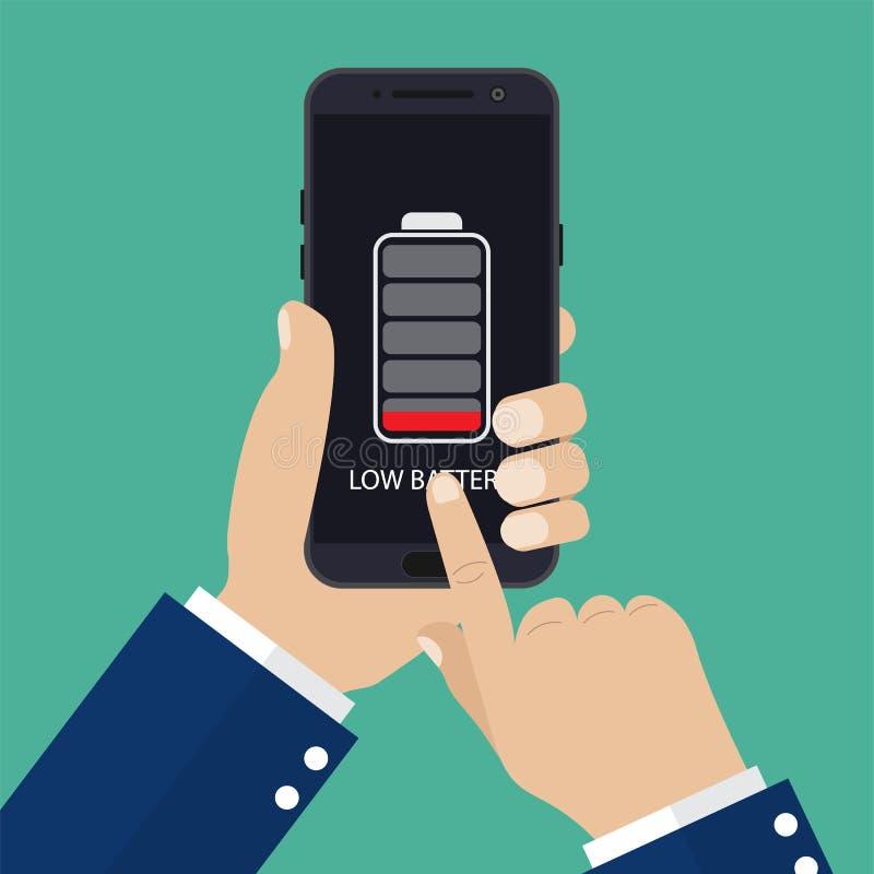 Hållande smartphone för hand med det låga batteriet stock illustrationer