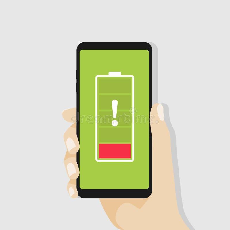 Hållande smartphone för hand med det röda låga batteriet vektor illustrationer