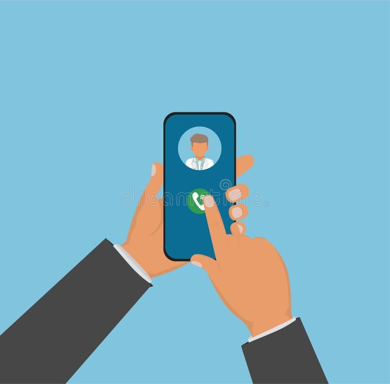 Hållande smartphone för hand med läkarundersökningen app Hållande smartphone för hand som kallar doktorn Begrepp för medicinsk ko stock illustrationer