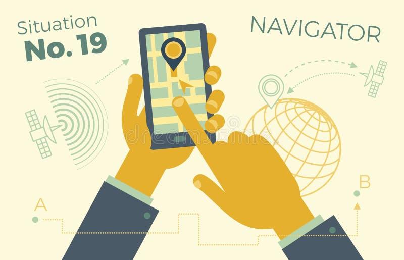 Hållande smartphone för hand med stadsöversikten, GPS navigatör på smartphoneskärmen Begreppet av mobil navigering Modern enkel l vektor illustrationer