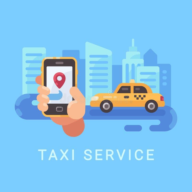 Hållande smartphone för hand med taxiservicemobilen app och en bil vektor illustrationer
