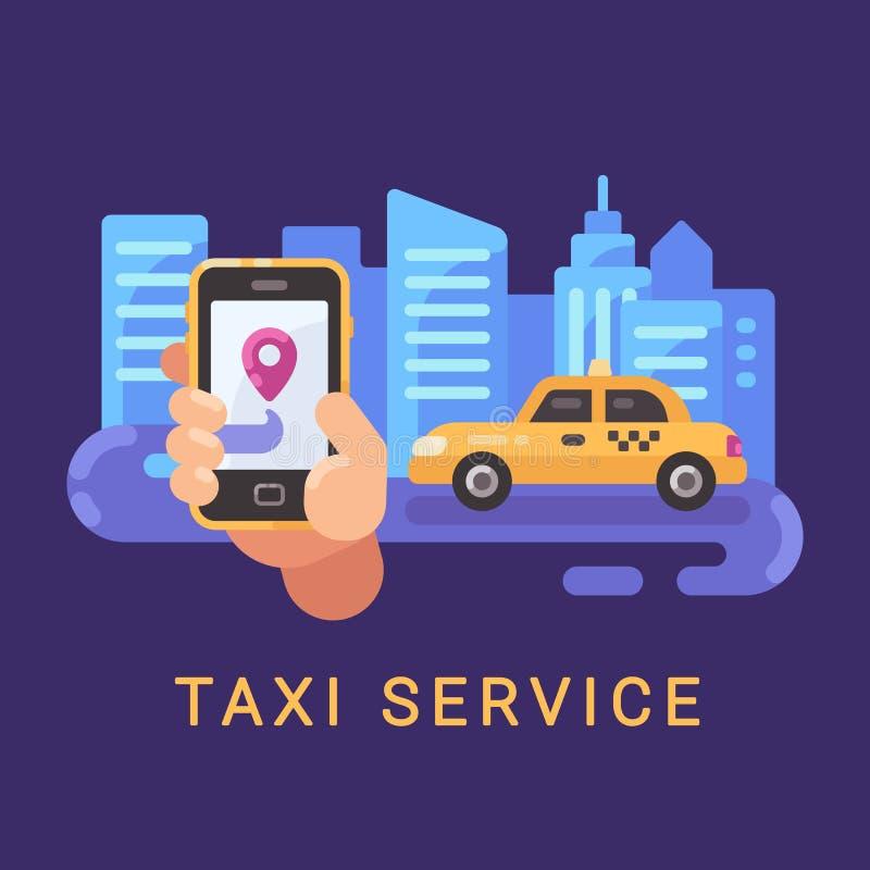 Hållande smartphone för hand med taxiservicemobilen app och en bil royaltyfri illustrationer