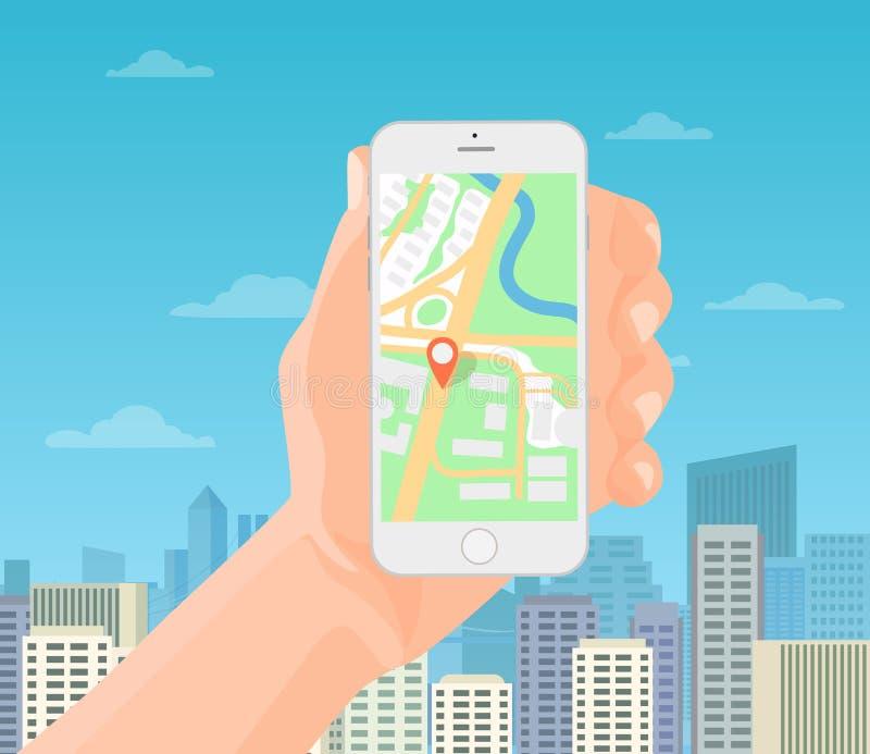 Hållande smartphone för man i hand med den mobila gps-navigeringöversikten på den moderna stadsbakgrunden också vektor för coreld royaltyfri illustrationer