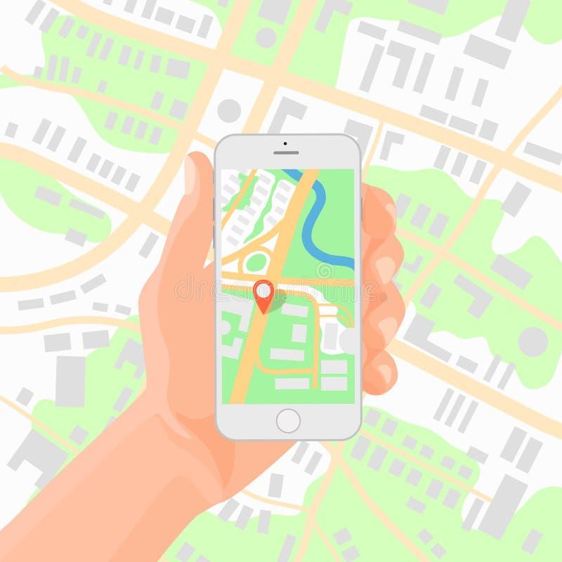 Hållande smartphone för man i hand med den mobila illustrationen för vektor för gps-navigeringöversikt royaltyfri illustrationer