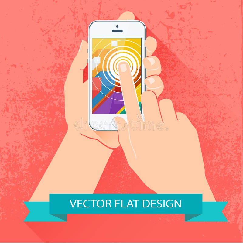 Hållande smartphone för manlig hand. Vektorlägenhetdesign. vektor illustrationer