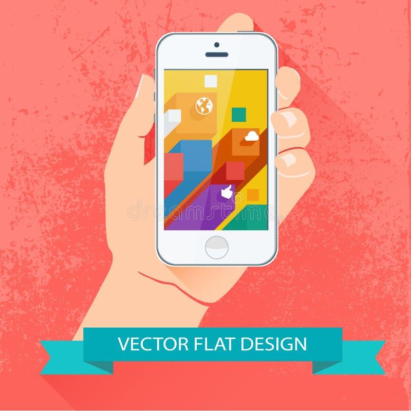 Hållande smartphone för manlig hand. Vektorlägenhetdesign. stock illustrationer