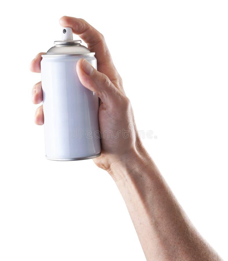 Hållande sprutmålningsfärg för hand arkivfoto