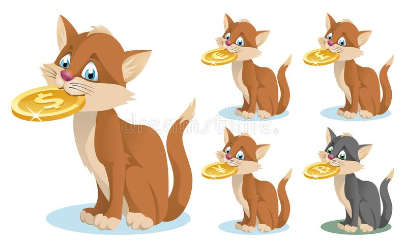 Hållande symbol för rolig katt av olika valutor Dollar euro, vektor illustrationer