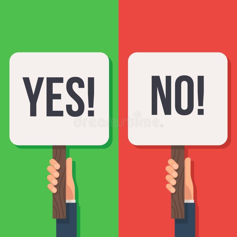 Hållande tecken för hand ja och inte stock illustrationer