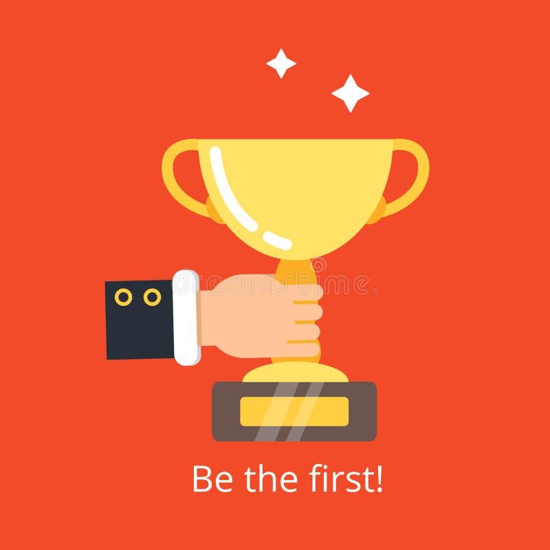 Hållande trofé för hand Prestation för guld- kopp för affärssegerbegrepp för plan illustration för vinnarevektorbakgrund stock illustrationer