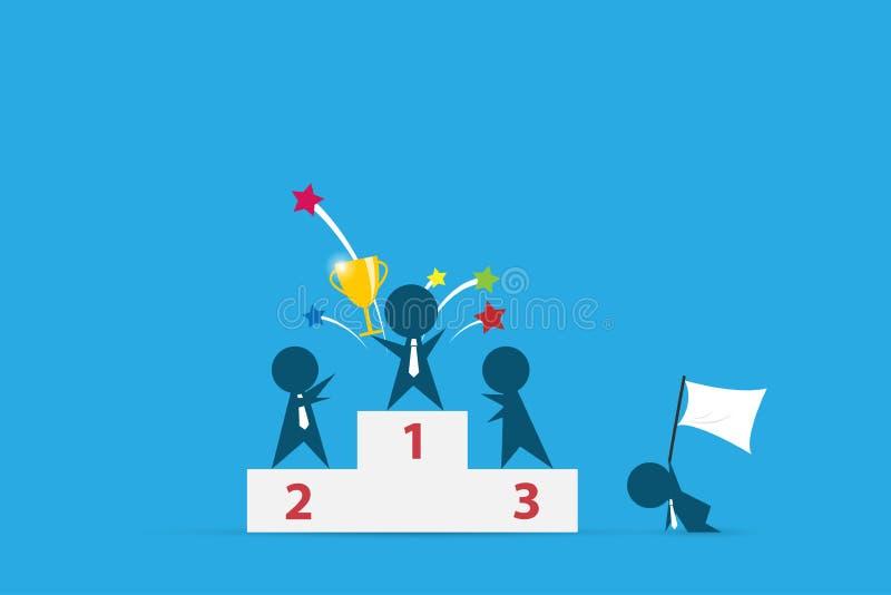 Hållande trofé för vinnareaffärsman på det bända podiet, konkurrens och affärsidé royaltyfri illustrationer