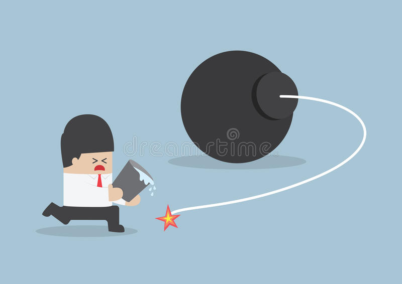 Hållande vattenhink för affärsman och försöka att stoppa bombardera stock illustrationer
