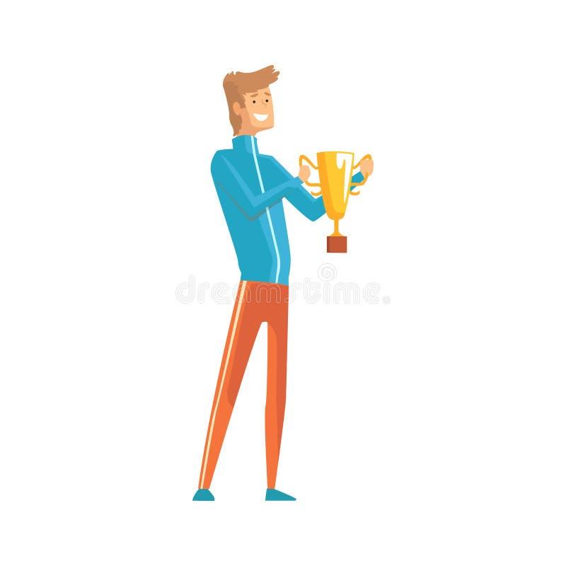 Hållande vinnaretrofé för stilig ung idrottsman lycklig grabb Manligt tecken för tecknad film i sportkläder med den guld- koppen  stock illustrationer