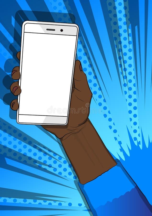 Hållande vit mobiltelefon för afro- amerikansk hand med den vita skärmen stock illustrationer